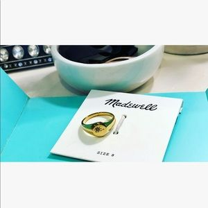 Madewell Gold & CZ Signet Ring Size 8